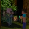Villager handlujący w lesie
