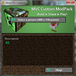 Okno tworzenia paczki modyfikacji